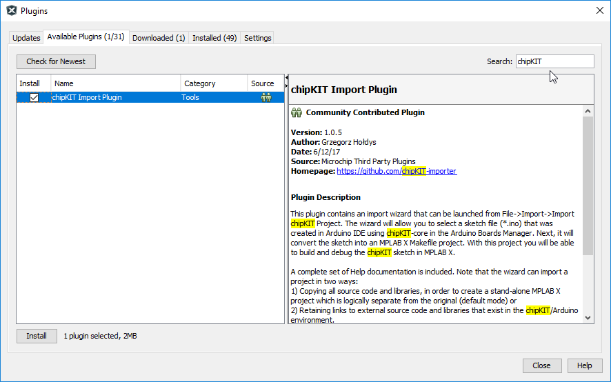 Search for the chipKIT Importer plugin from within the MPLAB X plugin manager