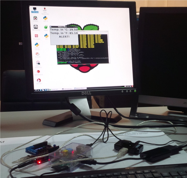 Local Temperature from chipKIT uC32 & Basic I/O Shield sent to Raspberry Pi and displayed on screen via Python