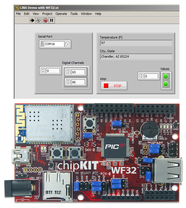 LabVIEW LINX Demo with chipKIT WF32