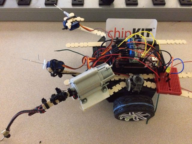 This chipKIT battlebot is ready to attack! Photo courtesy of Chris Mathews