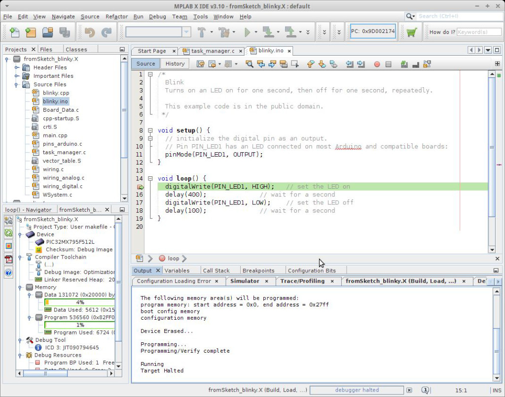 Source Debugging in MPLAB X IDE